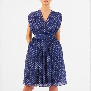 NWOT! Beautiful Draped Navy Print EShakti Dress